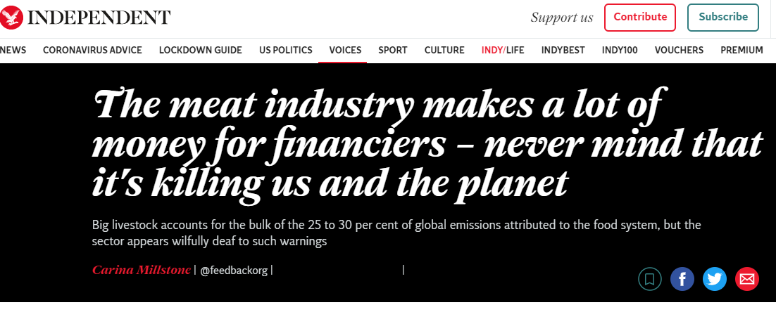 The meat industry makes a lot of money for financiers – never mind that it's killing us and the planet